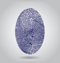 blue isolated fingerprint on grey vector image vector image