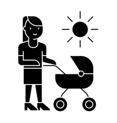 mother with baby stroller icon vector image