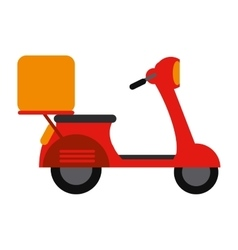 red motorcycle scooter delivery food vector image vector image