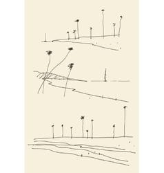 Set sketches seaside view beach sketch vector image vector image
