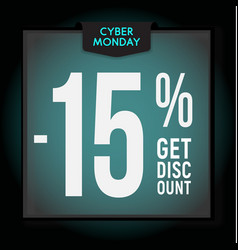 15 percent off holiday discount cyber monday vector image