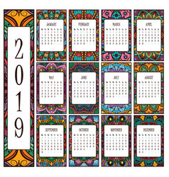 2019 calendar with beautiful intricate mandalas vector image