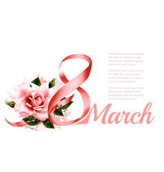 8th march with a pink rose international womens vector image