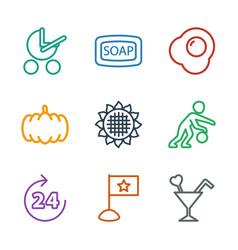 9 orange icons vector