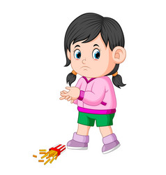 A girl with her potatoes fries fall down vector