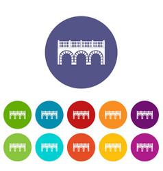 Arch bridge icons set color vector