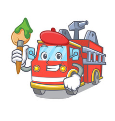 Artist fire truck character cartoon vector