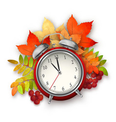 Autumn Fall Leaves and Alarm Clock vector image