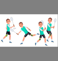 Badminton male player in action racket vector