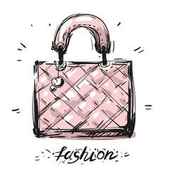 Bag fas hion hand drawn sketch vector