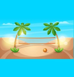 beach volleyball cartoon landscape vector image