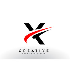 Black and red creative x letter logo design with vector