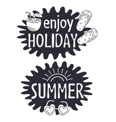 black and white summer lettering compositions vector image
