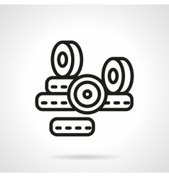 Black line longboard wheels icon vector