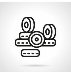 Black line longboard wheels icon vector image