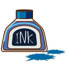 Bottle blue ink on white background vector