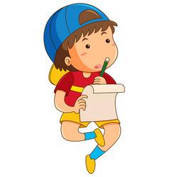 Boy doing homework alone vector
