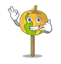 Call me candy apple mascot cartoon vector