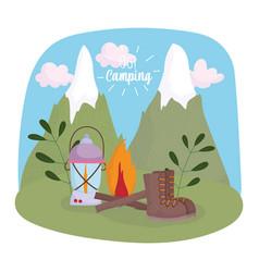 camping bonfire lantern boot mountains vacations vector image