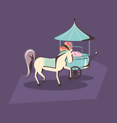 Carnival circus horse and food booth retro vector