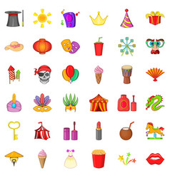 Carnival headdress icons set cartoon style vector