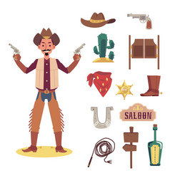cartoon cowboy man with guns and object set - flat vector image