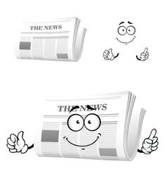 Cartoon newspaper with attention gesture vector