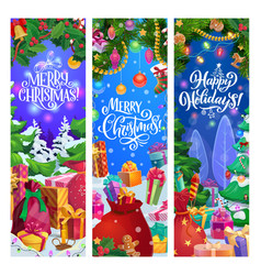 christmas gifts and new year garland banners vector image