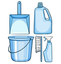 Cleaning set in blue color vector