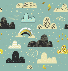 Clouds sky seamless pattern childish background vector