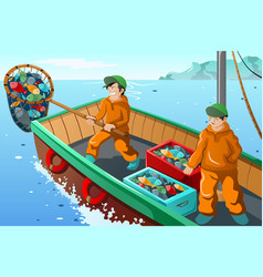 Commercial fisherman fishing vector