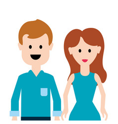 Couple man and woman with long hair vector