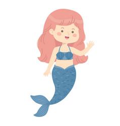 Cute mermaid girl blue cartoon vector