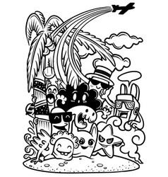 Cute monsters are enjoying summer vector