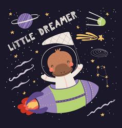 Cute platypus astronaut vector