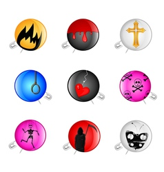 emo pins badges vector image
