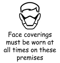 Face coverings to be worn sign vector