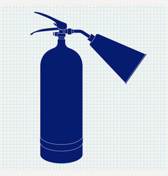 fire extinguisher blue icon on lined paper vector image