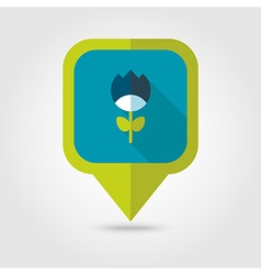 Flower flat pin map icon vector image