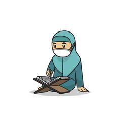 Girl character read koran wearing muslim vector