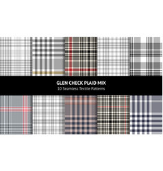 Glen plaid pattern set vector