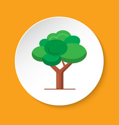 green tree icon in flat style on round button vector image