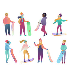 group cartoon snowboarders people vector image