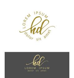 H d handdrawn brush monogram calligraphy logo vector