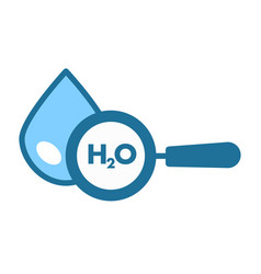 h2o clean water drop and magnifier isolated icon vector image