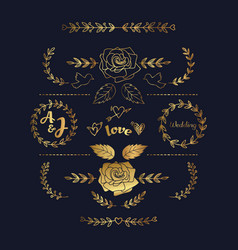 hand drawn floral gold graphic element vector image