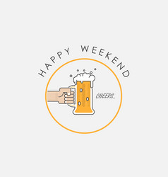 hand holding beer mugscelebration and happy vector image