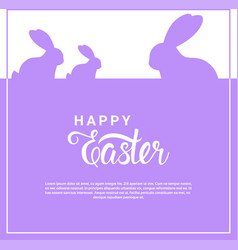 happy easter card with cute rabbits over lettering vector image