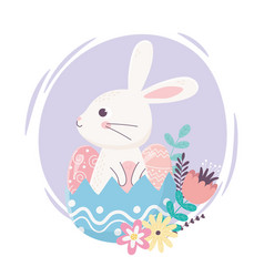 happy easter day cute rabbit in eggshell eggs vector image