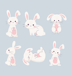 Happy easter rabbits different poses cartoon vector